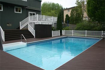 Pool And Two Upper Decks Trex Transcend Hidden Glen Road Scarsdale