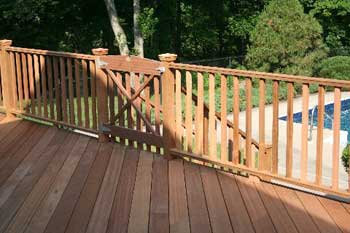 Meranti decking surface and Cedar railing